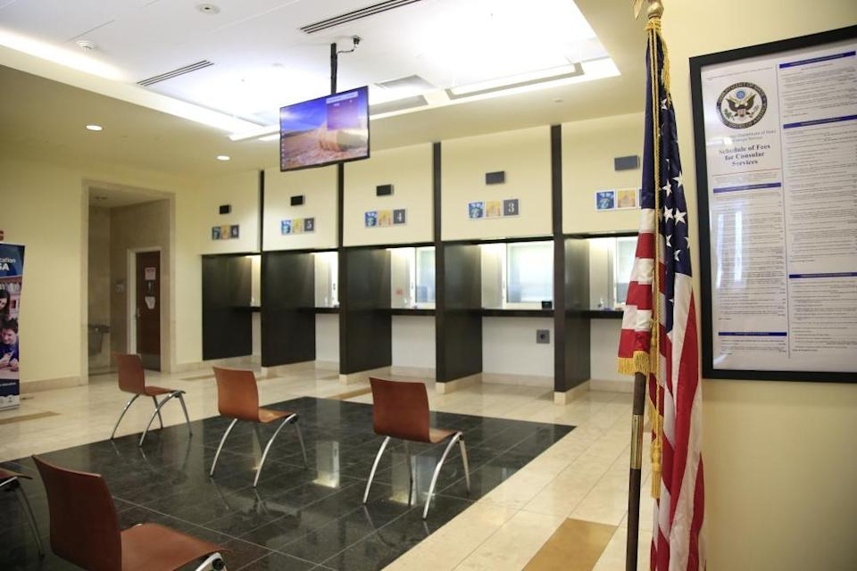 The inside of the visa center at the US embassy in Kabul, Afghanistan.