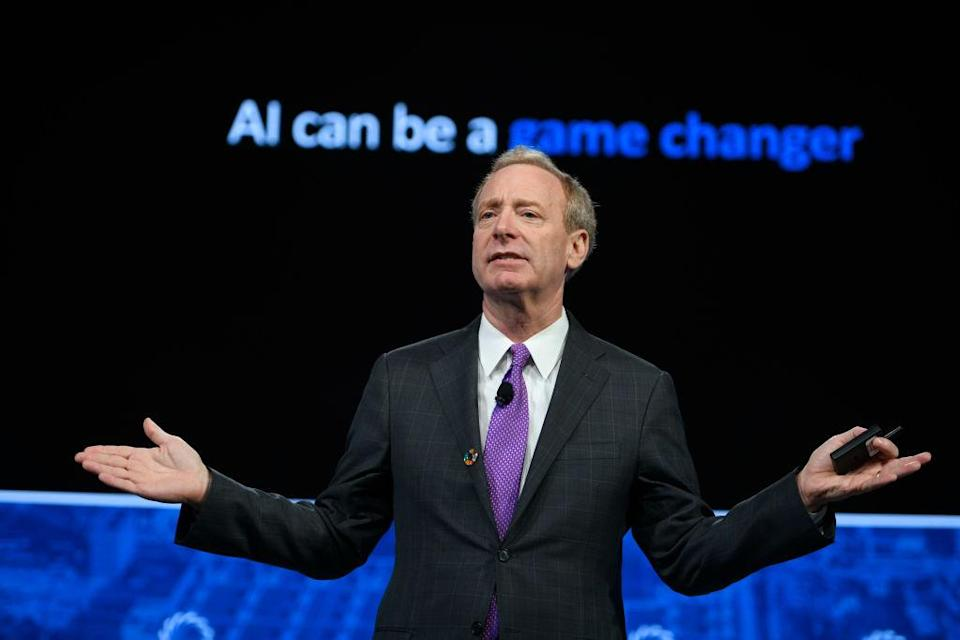 NEW YORK, NY - SEPTEMBER 24: President of Microsoft Brad Smith speaks onstage during the 2018 Concordia Annual Summit - Day 1 at Grand Hyatt New York on September 24, 2018 in New York City. (Photo by Riccardo Savi/Getty Images for Concordia Summit)