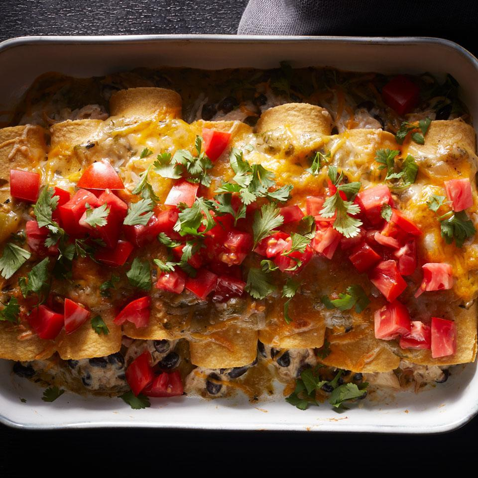 """<p>This easy, creamy chicken enchilada recipe uses premade green salsa for a quick enchilada sauce. Not in a verde mood? Use tomato salsa instead. <a href=""""http://www.eatingwell.com/recipe/269817/chicken-enchiladas-verdes/"""" rel=""""nofollow noopener"""" target=""""_blank"""" data-ylk=""""slk:View recipe"""" class=""""link rapid-noclick-resp""""> View recipe </a></p>"""