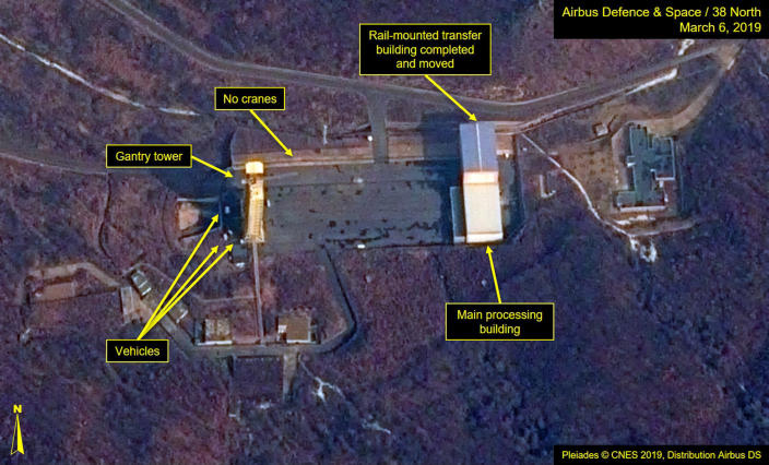 This image provided by Airbus Defence & Space and 38 North via a satellite image from CNES which was captured on March 6, 2019, shows the Sohae Satellite Launch Facility in Tongchang-ri, North Korea. North Korea is restoring facilities at the long-range rocket launch, which it dismantled last year as part of disarmament steps, according to foreign experts and a South Korean lawmaker who was briefed by Seoul's spy service. The finding follows a high-stakes nuclear summit last week between North Korean leader Kim Jong Un and President Donald Trump that ended without any agreement. Airbus Defence & Space and 38 North via AP)