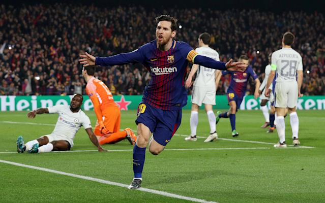 Soccer Football - Champions League Round of 16 Second Leg - FC Barcelona vs Chelsea - Camp Nou, Barcelona, Spain - March 14, 2018 Barcelona's Lionel Messi celebrates scoring their third goal REUTERS/Albert Gea TPX IMAGES OF THE DAY