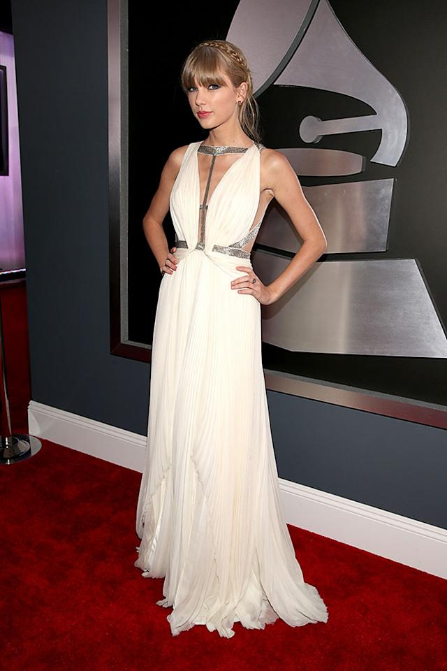 Taylor Swift arrives at the 55th Annual Grammy Awards at the Staples Center in Los Angeles, CA on February 10, 2013.