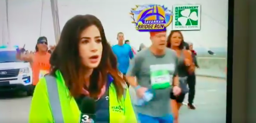 """Journalist says man """"violated"""" her during live TV report at race event"""
