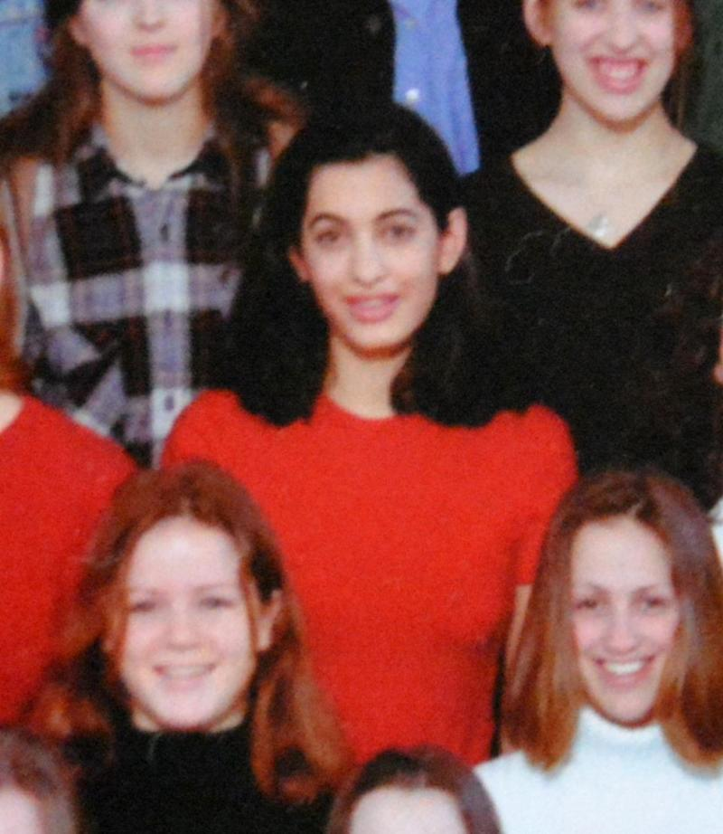 The photo was taken in 1996, when Amal was about to graduate from the all girls grammar school. Source: IMP Features/Chris White