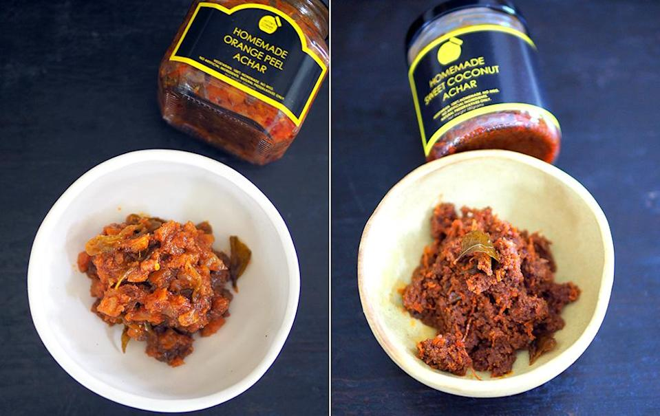 The orange peel achar was inspired by a video on the making of orange marmalade (left). Sweet coconut achar is packed with lots of grated coconut and fragrant from the use of organic virgin coconut oil (right).