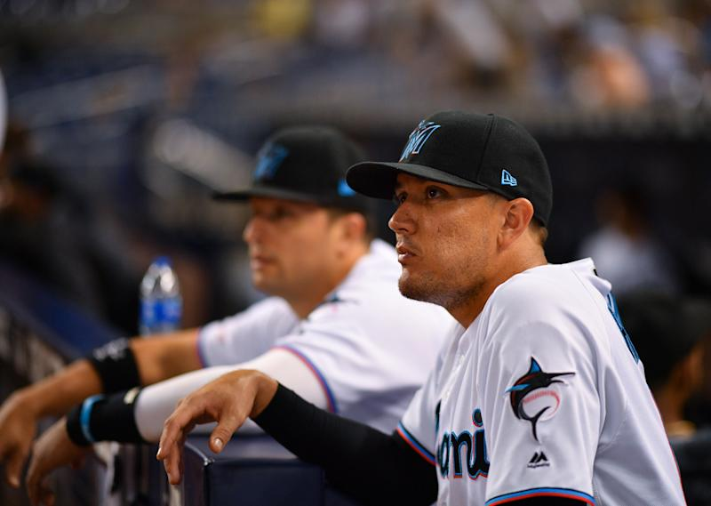 MIAMI, FLORIDA - SEPTEMBER 10: Miguel Rojas #19 of the Miami Marlins looks on against the Milwaukee Brewers at Marlins Park on September 10, 2019 in Miami, Florida. (Photo by Mark Brown/Getty Images)