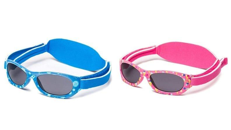 These baby sunglasses have terrific protection and soft, wraparound straps that velcro close.