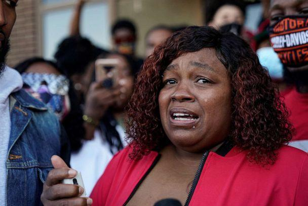 PHOTO: Tamika Palmer speaks during a protest on Sept. 18, 2020, as the community awaits the findings of the grand jury in the case of Breonna Taylor, shot dead in her apartment by police, in Louisville, Ky. (Bryan Woolston/Reuters, FILE)