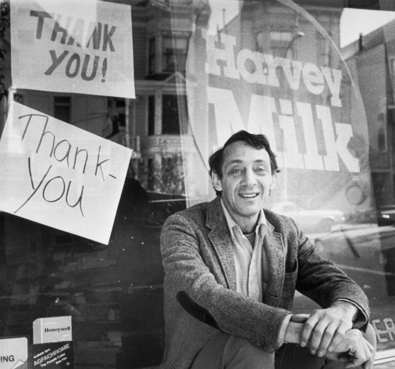Supervisor Harvey Milk, who was shot and killed along with San Francisco Mayor George Moscone at City Hall by Dan White, is seen here in 1977. Jane Fonda, who was friends with Milk, spoke out in support of gay rights during a night of protests after his murder. (Photo: Getty Images)