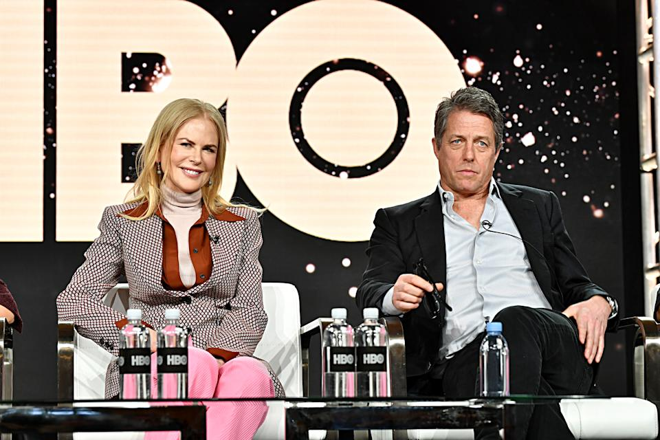 PASADENA, CALIFORNIA - JANUARY 15: (L-R) Nicole Kidman and Hugh Grant of 'The Undoing' appear onstage during the HBO segment of the 2020 Winter Television Critics Association Press Tour at The Langham Huntington, Pasadena on January 15, 2020 in Pasadena, California. 697450 (Photo by Emma McIntyre/Getty Images for WarnerMedia)
