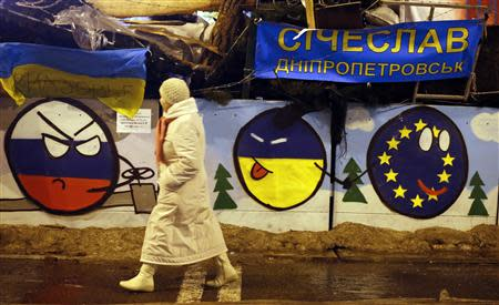 A pro-European integration protester walks by a barricade decorated with murals during a rally at Independence Square in Kiev December 17, 2013. REUTERS/Marko Djurica
