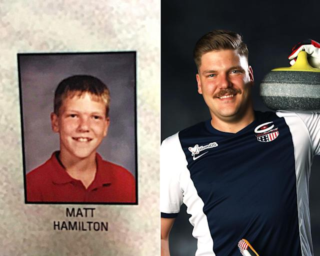 <p><strong>THEN:</strong> Middle-school student Matt Hamilton.<br><strong>NOW:</strong> He and his sister Becca are the first U.S. team to compete in the first-ever mixed doubles curling event.<br> (Photo via Instagram/hamscurl, Photo by Ezra Shaw/Getty Images) </p>