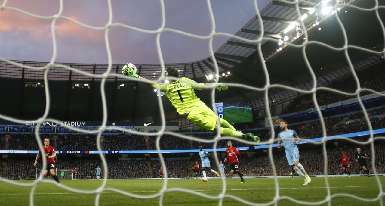 """Britain Soccer Football - Manchester City v Manchester United - Premier League - Etihad Stadium - 27/4/17 Manchester City's Claudio Bravo  in action Action Images via Reuters / Jason Cairnduff Livepic EDITORIAL USE ONLY. No use with unauthorized audio, video, data, fixture lists, club/league logos or """"live"""" services. Online in-match use limited to 45 images, no video emulation. No use in betting, games or single club/league/player publications.  Please contact your account representative for further details."""