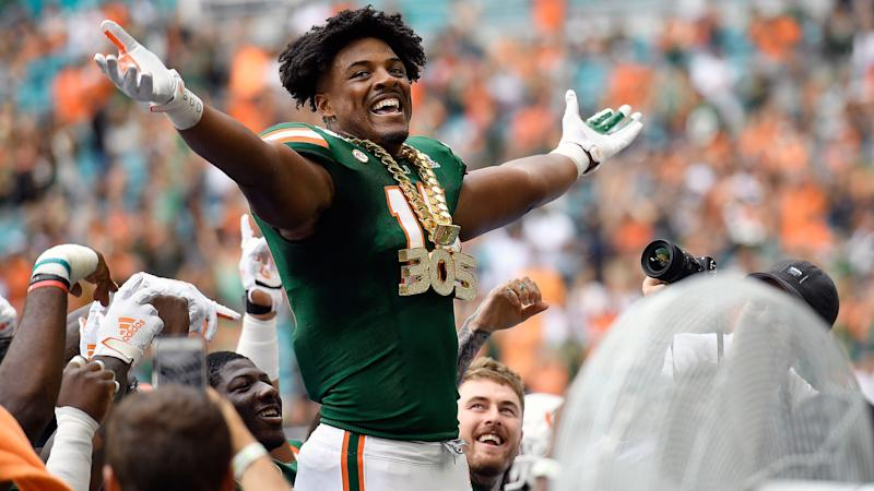 University of Miami lineman Gregory Rousseau wears the turnover chain against Central Michigan during the first half of their game on Saturday, Sept. 21, 2019. (Michael Laughlin/South Florida Sun Sentinel/Tribune News Service via Getty Images)