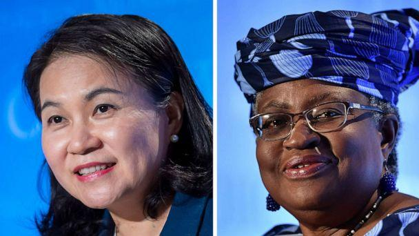 PHOTO: Yoo Myung-hee of South Korea, left and Ngozi Okonjo-Iweala of Nigeria are candidates for the Director-General position of the World Trade Organization (WTO) in Geneva. (Martial Trezzini/AP, Fabrice Coffrini/AFP via Getty Images)