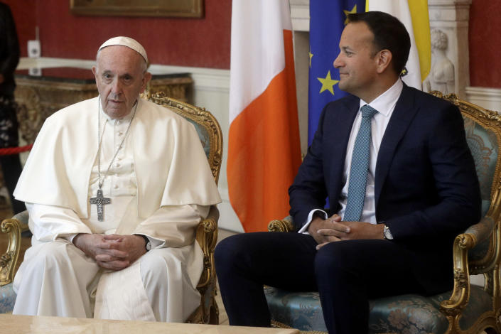 Pope Francis meets with Irish Prime Minister Leo Varadkar in Dublin, Ireland, Saturday, Aug. 25, 2018. Pope Francis is on a two-day visit to Ireland. (AP Photo/Gregorio Borgia)