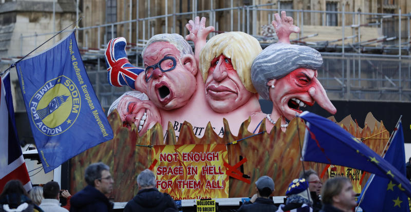 In Brexit limbo, UK veers between high anxiety, grim humor