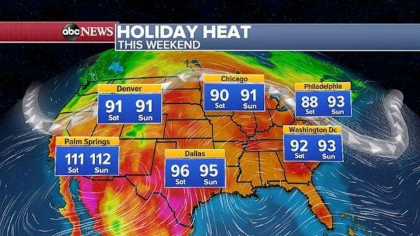 PHOTO: Over the holiday weekend, the heat will hang out for most of the East Coast, and then spread into the West as well (ABC News)