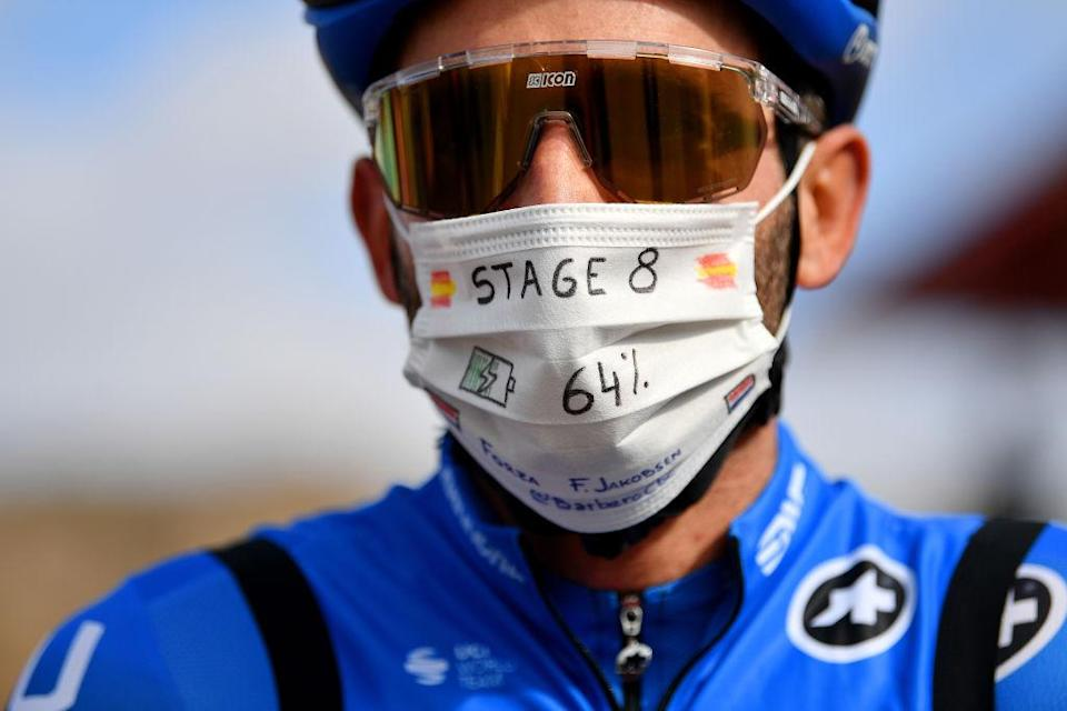 ALTODEMONCALVILLO SPAIN  OCTOBER 28 Start  Carlos Barbero Cuesta of Spain and NTT Pro Cycling Team  Fabio Jakobsen of The Netherlands and Team Deceuninck  QuickStep  ForzaFabio  Decoration Mask  Covid safety measures  Team Presentation  during the 75th Tour of Spain 2020 Stage 8 a 164km stage from Logroo to Alto de Moncalvillo 1490m  lavuelta  LaVuelta20  on October 28 2020 in Alto de Moncalvillo Spain Photo by Justin SetterfieldGetty Images