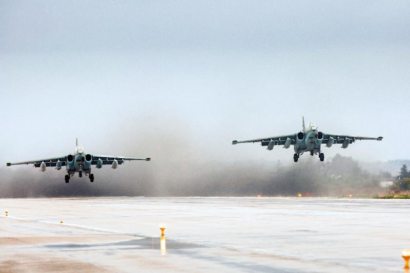 Russian Sukhoi Su-25 ground attack aircraft take off from the Hmeimim military base in Latakia province, Syria on March 16, 2016
