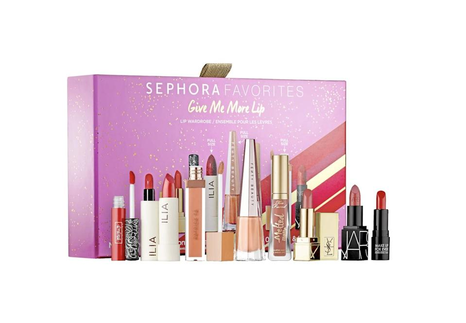 <p>The <span>Sephora Favorites Give Me More Lip Holiday Reds and Nudes Lipstick Set</span> ($45) contains eight standout neutral and red shades in gloss, matte, and cream formulas.</p>