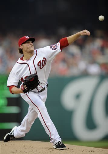Washington Nationals starting pitcher Ross Detwiler throws to a Chicago Cubs batter during the first inning of a baseball game, Friday, May 10, 2013, in Washington. (AP Photo/Nick Wass)