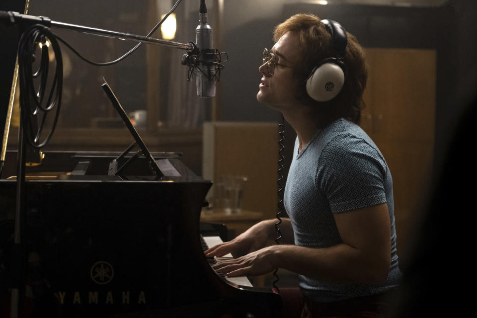 """This image released by Paramount Pictures shows Taron Egerton as Elton John in a scene from """"Rocketman."""" v (David Appleby/ Paramount Pictures via AP)"""