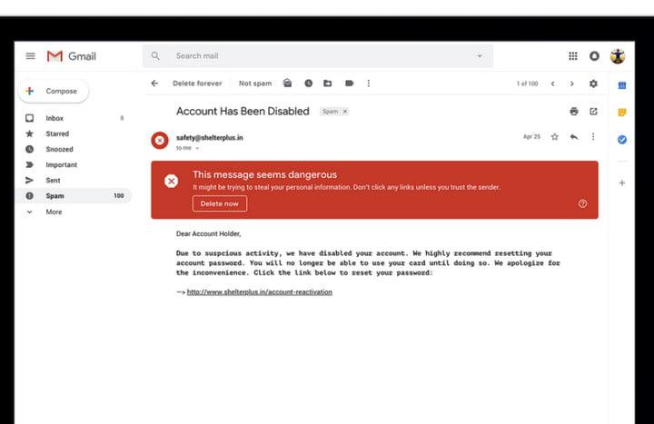 Gmail risky email warning