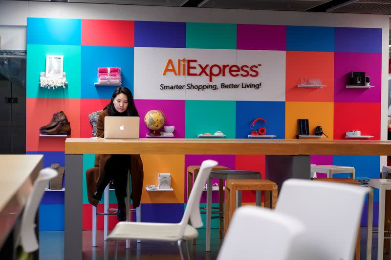 The logo of AliExpress is seen at Alibaba Expansion office at the Alibaba company's headquarters in Hangzhou