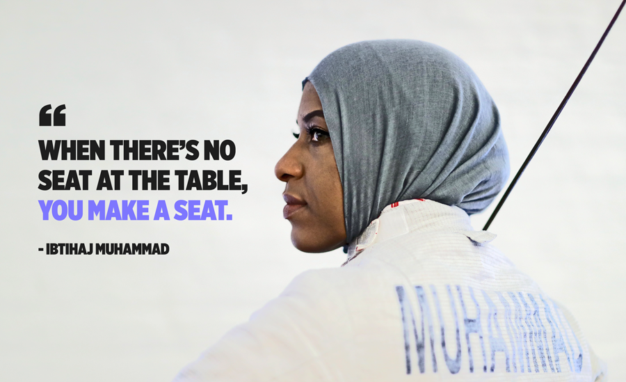 Ibithaj Muhammad doesn't take her influence as a black Muslim Olympic fencer lightly when it comes to speaking out against racial and religious injustices. (Photo: Getty Images, Art by Quinn Lemmers for Yahoo Lifestyle)