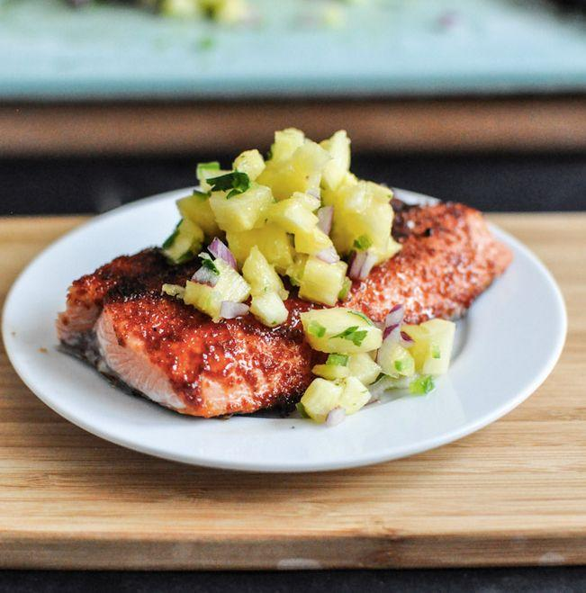 """<strong>Get the <a href=""""http://www.howsweeteats.com/2012/08/bbq-spiced-salmon-with-pineapple-jalapeno-salsa/"""" target=""""_blank"""">BBQ Spiced Salmon recipe</a> from How Sweet It Is</strong>"""