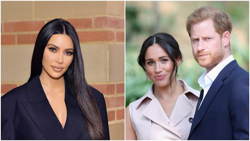 Kim Kardashian Can 'Empathize' With Meghan Markle and Prince Harry Amid Their Struggles in the Spotlight