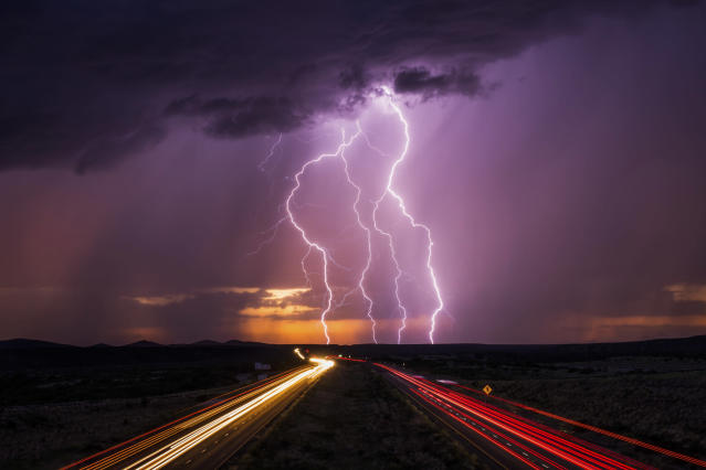 <p>A lightning storm on Marsh Station Overpass on Aug. 26, 2017. (Photo: Mike Olbinski/Caters News) </p>