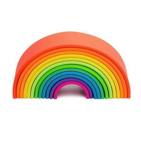 """<p><strong>Dena Toys</strong></p><p>kidochicago.com</p><p><strong>$50.00</strong></p><p><a href=""""https://store.kidochicago.com/products/neon-rainbow"""" rel=""""nofollow noopener"""" target=""""_blank"""" data-ylk=""""slk:Shop Now"""" class=""""link rapid-noclick-resp"""">Shop Now</a></p><p>Not only does this look great on a shelf, kids can play with it in a bunch of different ways: It can be a stacking toy, a teether or, since it's made of silicone, it can even be a bath toy. It also comes in pastel shades. <em>Ages 0+</em></p>"""