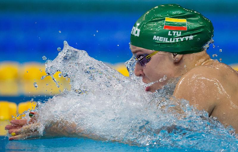 Lithuania's Ruta Meilutyte competes in the women's 50m breaststroke final swimming race at the 2014 Youth Olympic Games in Nanjing, China, August 18, 2014 (AFP Photo/Johannes Eisele)