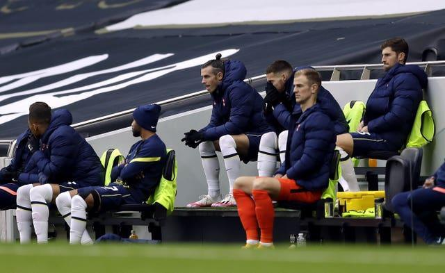 Gareth Bale, centre, on the Tottenham bench during October's game against West Ham