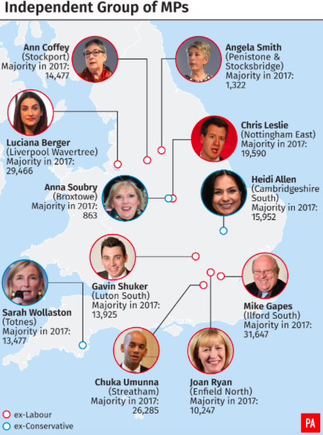 <em>The geographical make up of The Independent Group (PA)</em>