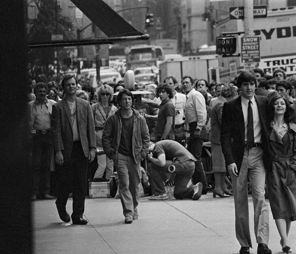 <p>Bill Murray walking on the outside set of <em>Tootsie</em> with Dustin Hoffman; circa 1970, New York.</p>