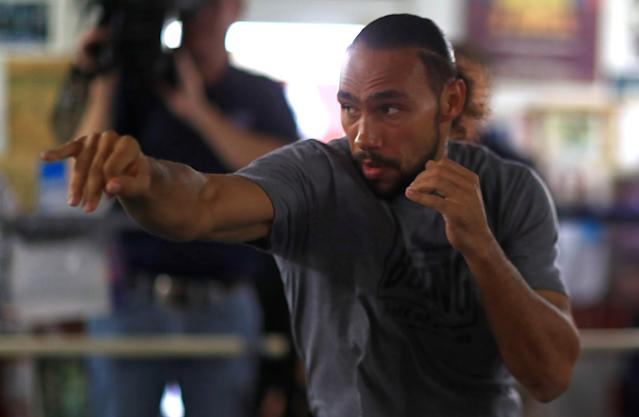 Keith Thurman works out for members of the media ahead of his fight against Manny Pacquiao (not pictured) on July 20 in Las Vegas. (Getty Images)