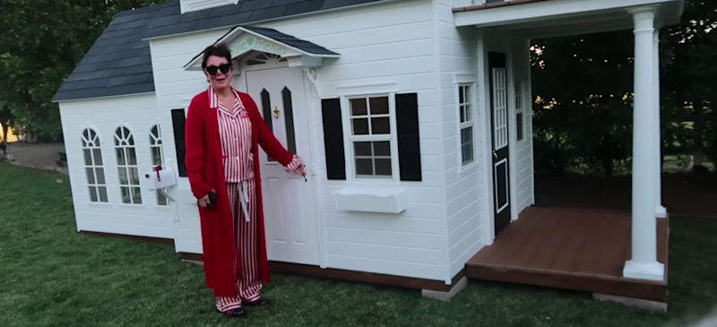 Kris Jenner stands in front of the house she bought Stormi Webster for Christmas.
