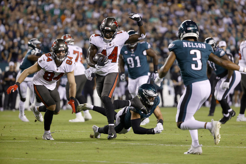 Wide receiver Chris Godwin and the Buccaneers held on to a win over the Eagles. (Photo by Tim Nwachukwu/Getty Images)