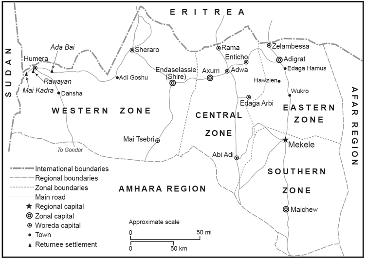 Map showing Ethiopia's Tigray region.