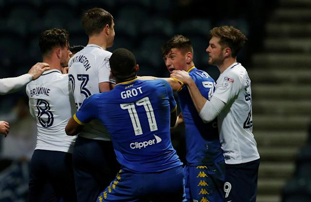 """Soccer Football - Championship - Preston North End vs Leeds United - Deepdale, Preston, Britain - April 10, 2018 Players from both teams clash Action Images/Craig Brough EDITORIAL USE ONLY. No use with unauthorized audio, video, data, fixture lists, club/league logos or """"live"""" services. Online in-match use limited to 75 images, no video emulation. No use in betting, games or single club/league/player publications. Please contact your account representative for further details."""