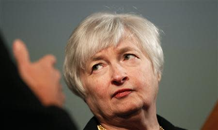 Yellen, vice chair of the Board of Governors of the U.S. Federal Reserve System, is shown prior to addressing University of California Berkeley Haas School of Business in Berkeley in this file photo