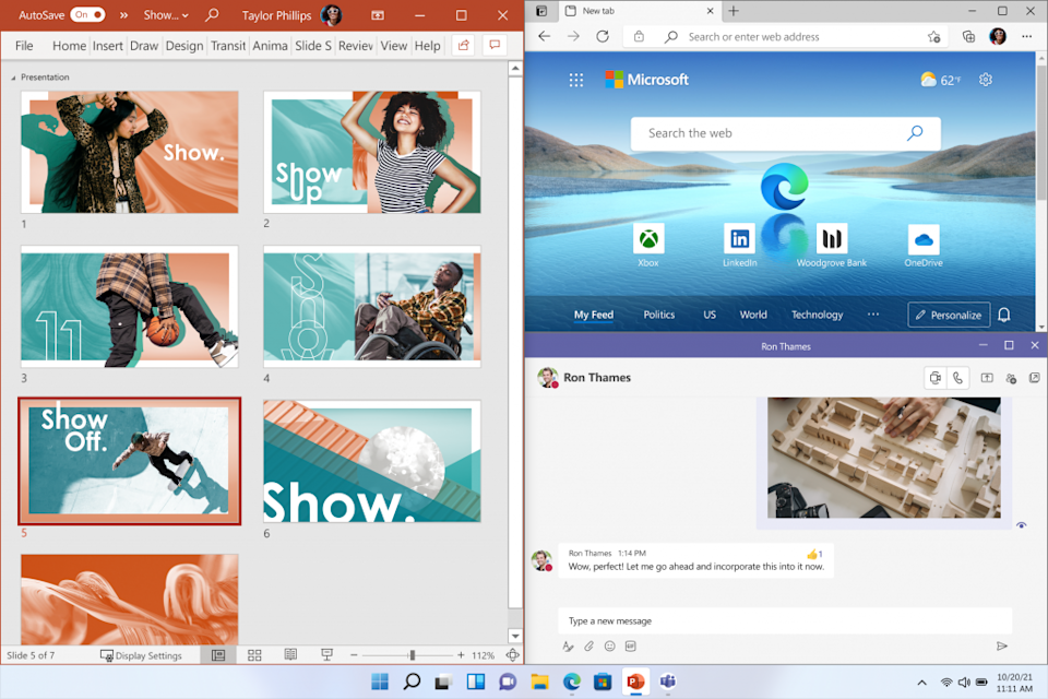 Multitasking gets a boost in Windows 11 with the ability to snap multiple apps in a variety of layouts across the screen. (Image: Microsoft)