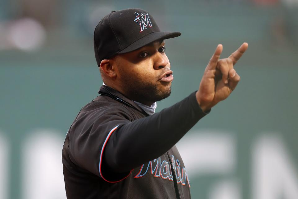 First baseman Jesus Aguilar and the Miami Marlins take on the Toronto Blue Jays on Tuesday. (AP Photo/Michael Dwyer)
