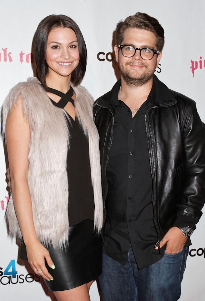 LOS ANGELES, CA - SEPTEMBER 11:  (L-R) Lisa Stelly and Jack Osbourne attend Cops4Causes inaugural 'Heroes Helping Heroes' official 9/11 benefit at Pink Taco on September 11, 2012 in Los Angeles, California.  (Photo by Tibrina Hobson/WireImage)