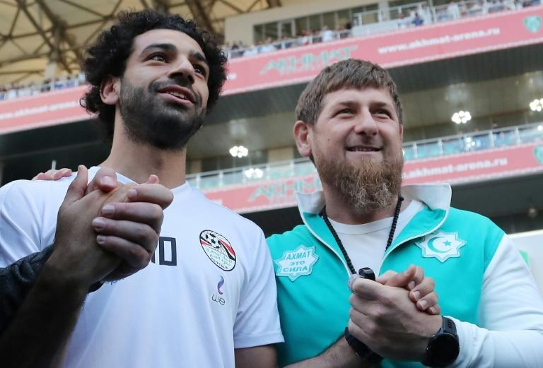 Egypt's star striker Mohamed Salah (L) poses with head of the Chechen Republic Ramzan Kadyrov in Grozny on June 10, 2018