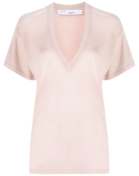 """Not all V-necks are created equal, and if you're looking for something with more cleavage, try this plunging Iro top. $105, Farfetch. <a href=""""https://www.farfetch.com/shopping/women/iro-deep-v-neck-t-shirt-item-15057936.aspx?storeid=10034"""" rel=""""nofollow noopener"""" target=""""_blank"""" data-ylk=""""slk:Get it now!"""" class=""""link rapid-noclick-resp"""">Get it now!</a>"""