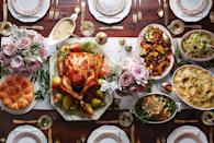 """<p>This spread celebrates the season's bounty with crowd favorites taken up a notch. A simple white table runner and fresh flowers set the scene beautifully.</p><p><strong>Main Course:</strong><br></p><p><a href=""""https://www.countryliving.com/food-drinks/recipes/a5933/pear-thyme-turkey-recipe-clx1114/"""" rel=""""nofollow noopener"""" target=""""_blank"""" data-ylk=""""slk:Pear-Thyme Brined Turkey"""" class=""""link rapid-noclick-resp"""">Pear-Thyme Brined Turkey</a></p><p><strong>Sides:</strong></p><p><a href=""""https://www.countryliving.com/food-drinks/recipes/a5916/buttermilk-boursin-potatoes-recipe-clx1114/"""" rel=""""nofollow noopener"""" target=""""_blank"""" data-ylk=""""slk:Buttermilk-Boursin Mashed Potatoes"""" class=""""link rapid-noclick-resp"""">Buttermilk-Boursin Mashed Potatoes</a></p><p><a href=""""https://www.countryliving.com/recipefinder/roasted-acorn-squash-maple-bacon-drizzle-recipe-clx1114"""" rel=""""nofollow noopener"""" target=""""_blank"""" data-ylk=""""slk:Roasted Acorn Squash with Maple Bacon Drizzle"""" class=""""link rapid-noclick-resp"""">Roasted Acorn Squash with Maple Bacon Drizzle</a></p><p><a href=""""https://www.countryliving.com/food-drinks/recipes/a5861/french-green-beans-garlicky-almond-breadcrumbs-recipe-clx1114/"""" rel=""""nofollow noopener"""" target=""""_blank"""" data-ylk=""""slk:French Green Beans with Garlicky Almond Breadcrumbs"""" class=""""link rapid-noclick-resp"""">French Green Beans with Garlicky Almond Breadcrumbs</a></p><p><a href=""""https://www.countryliving.com/recipefinder/shaved-brussels-sprout-chestnut-salad-recipe-clx1114"""" rel=""""nofollow noopener"""" target=""""_blank"""" data-ylk=""""slk:Shaved Brussels Sprout-and-Chestnut Salad"""" class=""""link rapid-noclick-resp"""">Shaved Brussels Sprout-and-Chestnut Salad</a></p><p><strong>Desserts:</strong></p><p><a href=""""https://www.countryliving.com/food-drinks/recipes/a5919/toffee-crunch-cake-recipe-clx1114/"""" rel=""""nofollow noopener"""" target=""""_blank"""" data-ylk=""""slk:Toffee Crunch Cake"""" class=""""link rapid-noclick-resp"""">Toffee Crunch Cake</a></p><p><a href=""""https://www.countryliving.com/food-drinks/recipes"""
